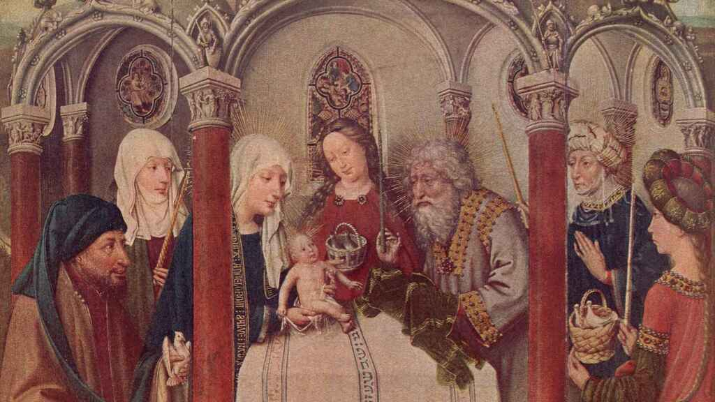Un altar de Maitre de Flemalle representa una circuncisión.