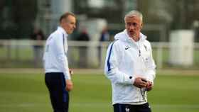 Deschamps en un entrenamiento de Francia. Foto: fff.fr