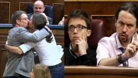En un año Iglesias ha pasado del beso a Domènech al enfado contra el PP.