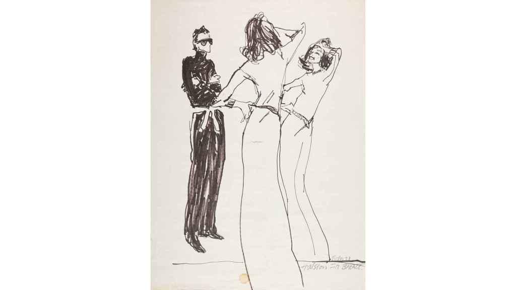 Boceto de Joe Eula, con Halston revisando cómo Lauren Bacall se prueba uno de sus vestidos.