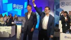 Albiol y Rajoy durante el acto.
