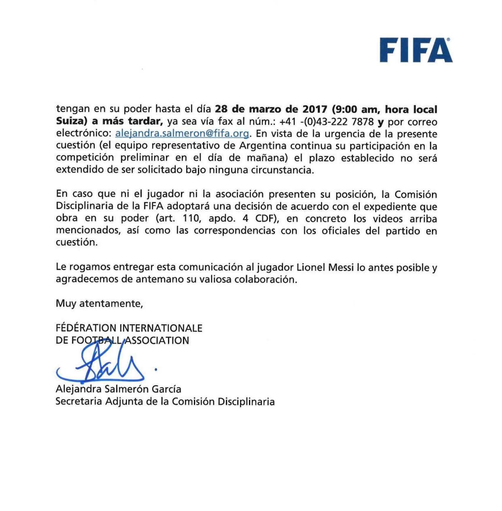 Comunicado de la FIFA a la AFA.