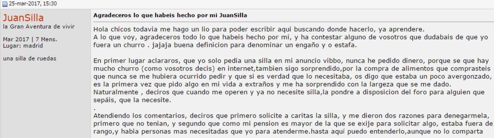 'JuanSilla' el usuario creado para el receptor de la silla en Forocoches