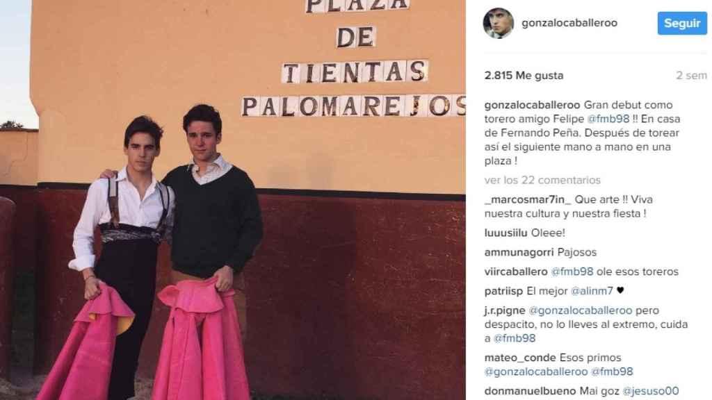 Publicación en Instagram del torero Gonzalo Caballero