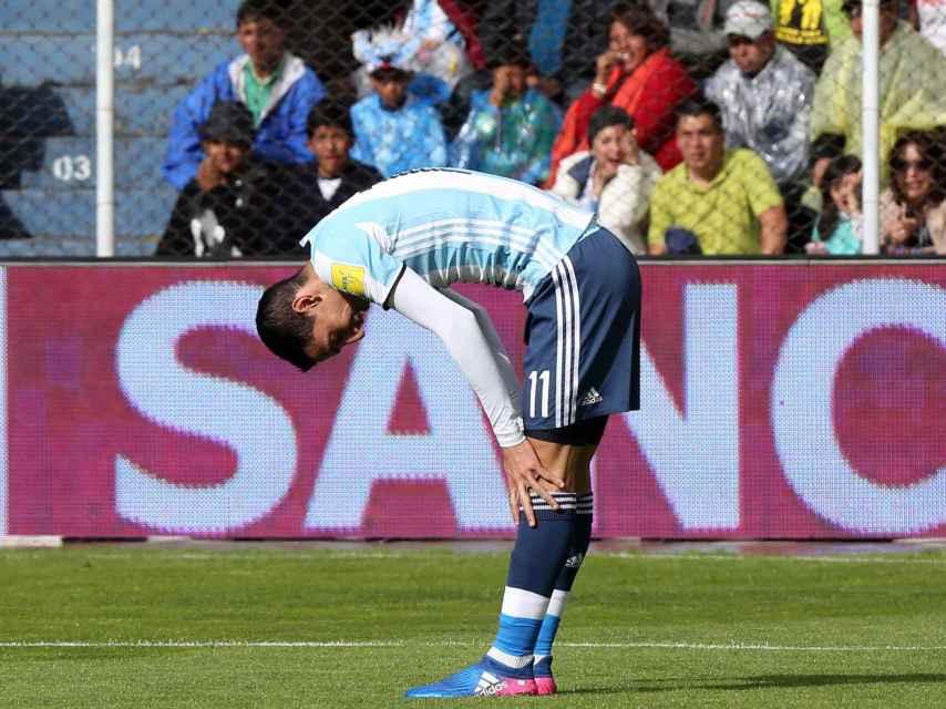 Di María, al final del partido en Bolivia.