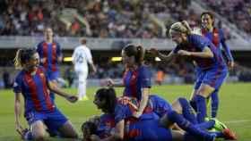 Las jugadoras del Barcelona celebran un gol en la Champions.