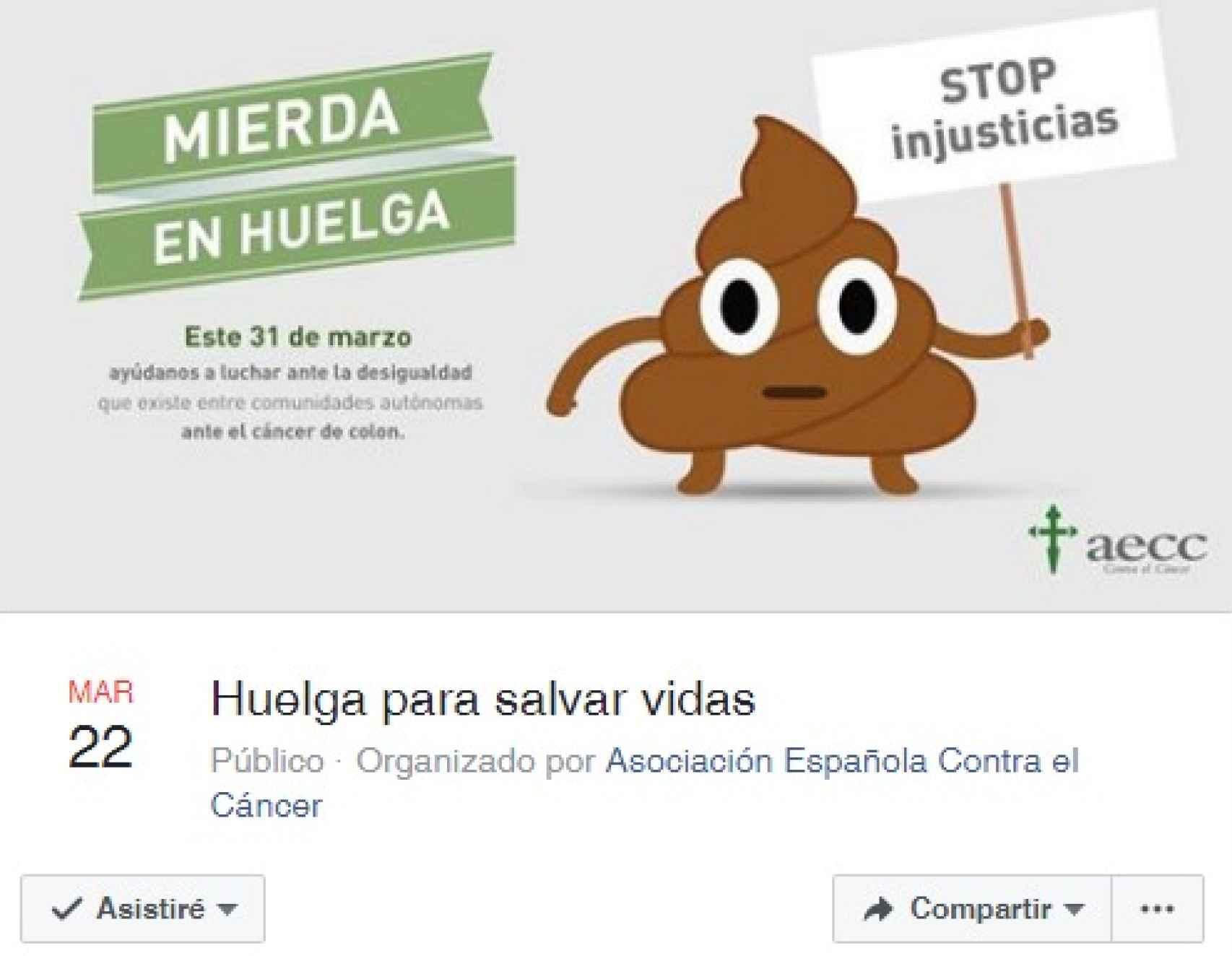 El evento creado en Facebok por la Asociación Española Contra el Cáncer