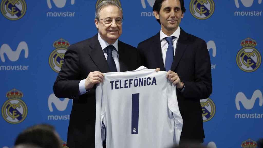 Florentino Pérez, presidente del Real Madrid y José María Álvarez Pallete, presidente de Telefónica