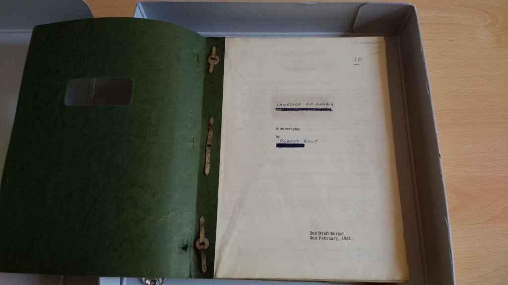 Guion original anotado a mano de Lawrence de Arabia, de David Lean.