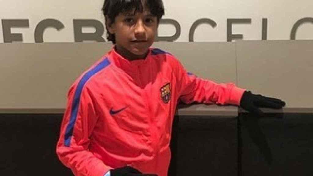Manu, con ropa de entrenamiento del FC Barcelona.