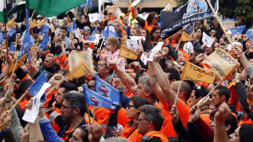 Una manifestación de estibadores en Algeciras, en una imagen de archivo.