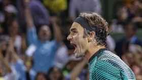 Federer, celebrando su pase a la final del torneo de Miami