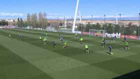 Gran jugada del Madrid en el entrenamiento