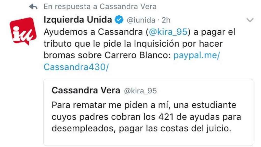 El tuit original en el que Cassandra afirmaba que debía correr con las costas.