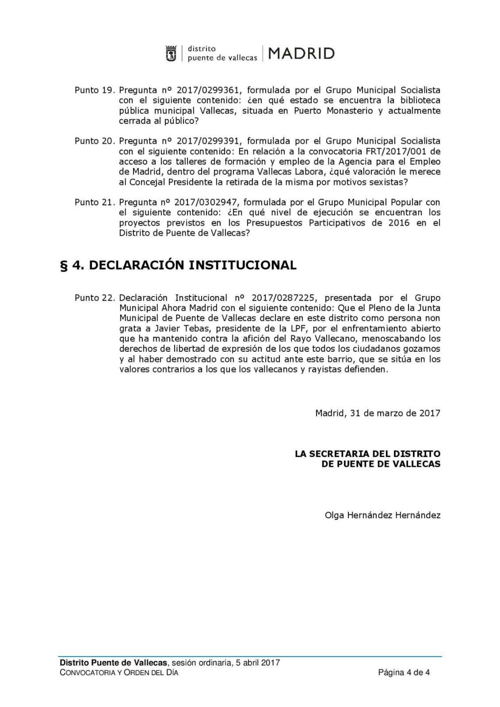Borrador del orden del día original del Pleno y la declaración institucional.