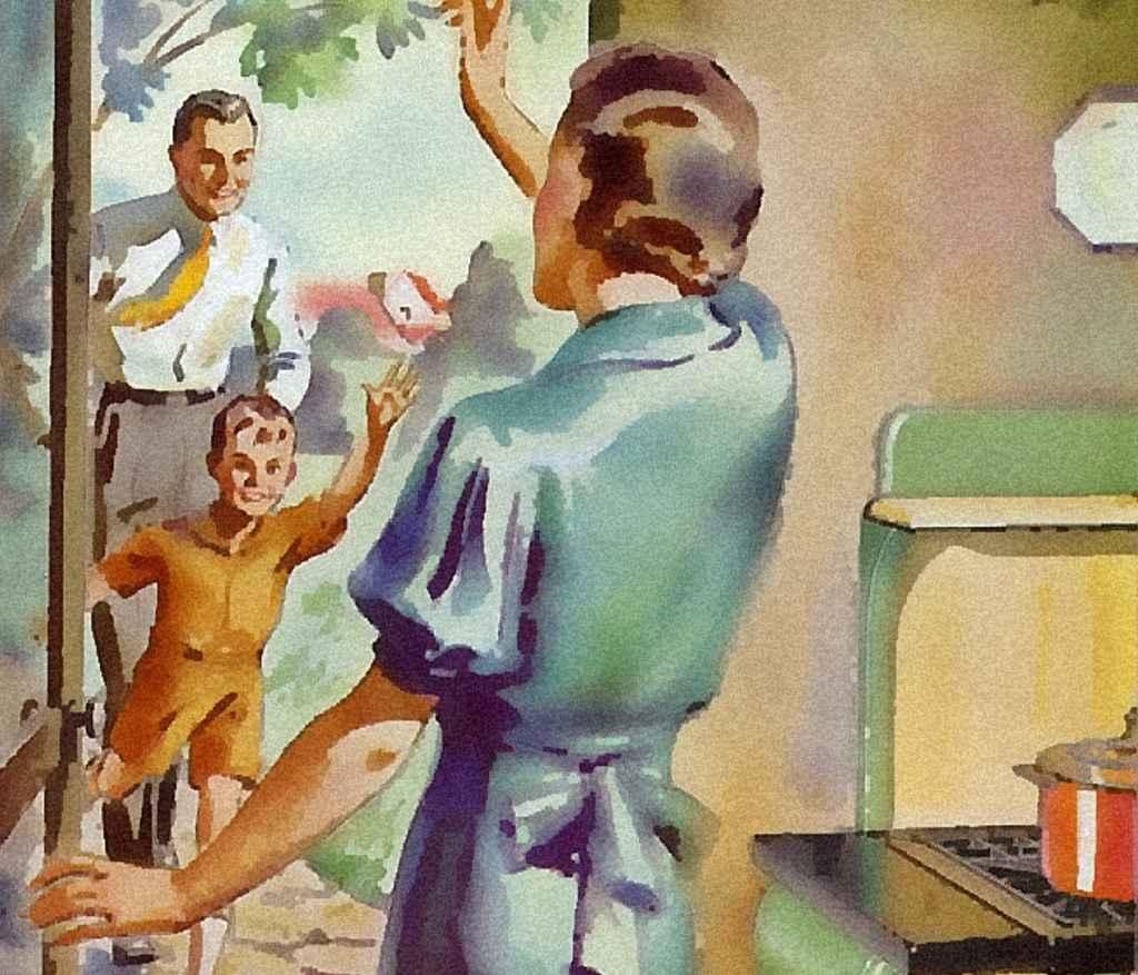 Ilustración de una ama de casa de los años 50.