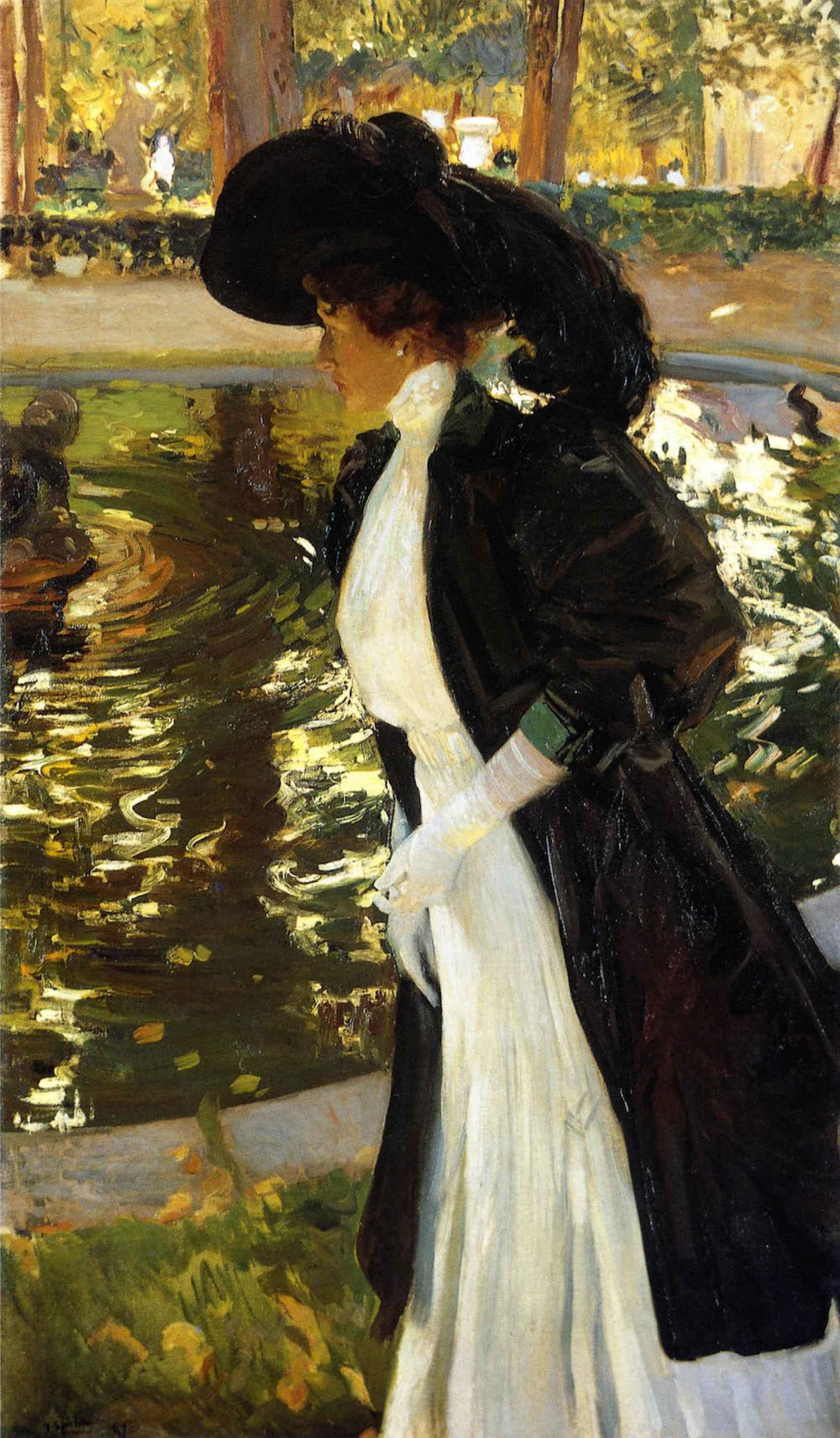 Clotilde paseando en los Jardines de la Granja, pintado en 1907.