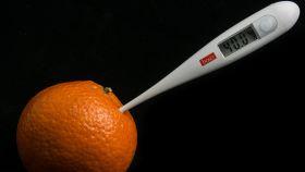 Una mandarina con un termómetro. Menudo bodegón.