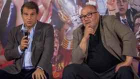 Joan Laporta y Joan Oliver, durante un acto de campaña a la presidencia del Barcelona.