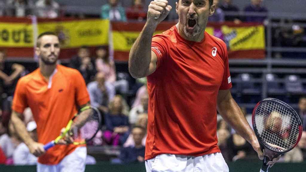 Zimonjic, celebrando un punto en el partido de dobles contra España.