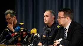 Rueda de prensa de los representantes de las fuerzas de seguridad suecas.