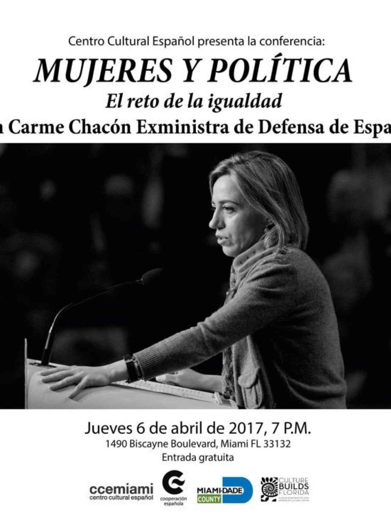 Cartel anunciador de la intervención de Carme Chacón. CCE Miami.
