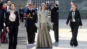 En el centro y a la derecha, la entonces princesa Letizia y Carme Chacón, en la Pascua Militar de 2009. A la izquierda, la ministra de Defensa, al año siguiente, en la misma ceremonia.