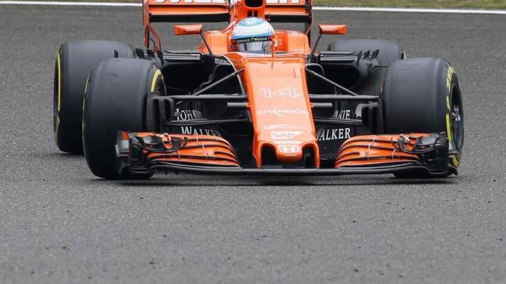 Fernando Alonso, en plena carrera.