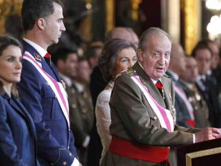 Juan Carlos I pronuncia su discurso en la Pascua Militar de 2014.