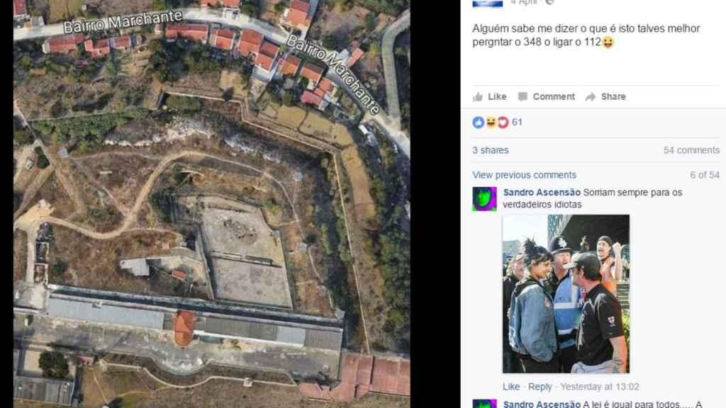 Post de Facebook en el que 'Jeki' se mofa de las autoridades y pregunta si alguien sabe qué es el sitio que aparece en el mapa.