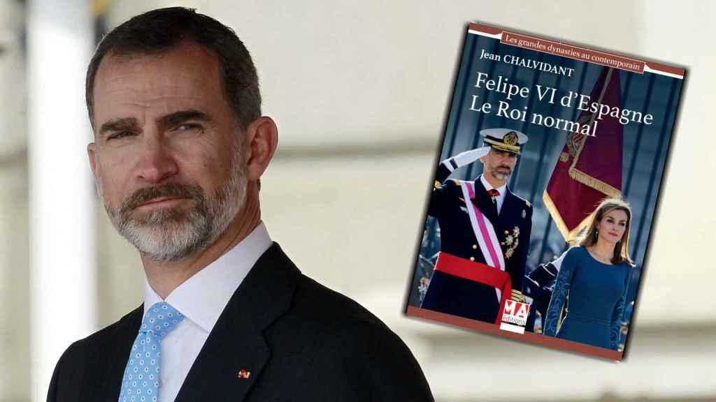 El rey Felipe y la portada del libro en un montaje hecho por JALEOS.