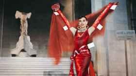 """Audrey Hepburn en """"Una carita con ángel"""" de Moschino   Collage de Benjamin Seidler."""