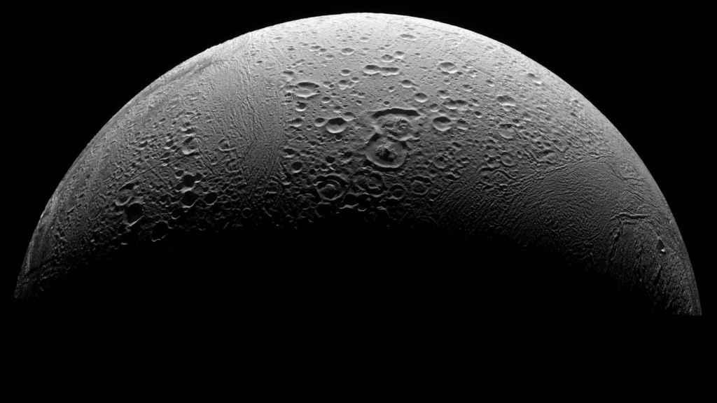 El polo norte del satélite de Saturno.