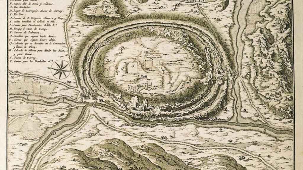 Mapa antiguo de la población de Numancia.