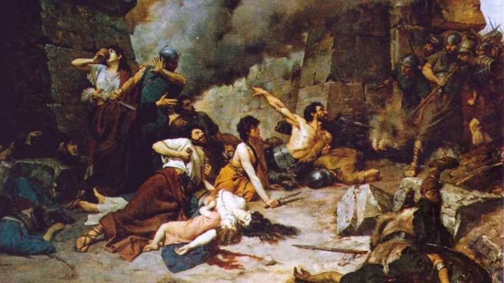Cuadro que representa la batalla por Numancia.