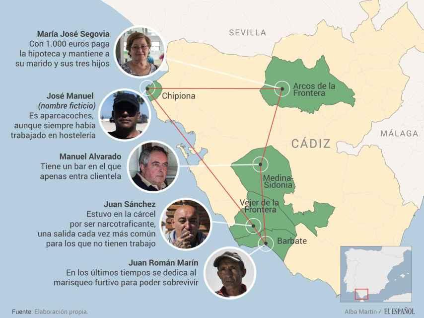 Este es el 'pentágono' del paro en España. Cinco de los pueblos con más desempleo en el país están en Cádiz.