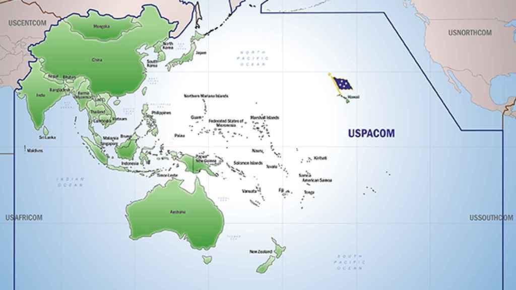 Mapa del Comando Pacífico de EEUU