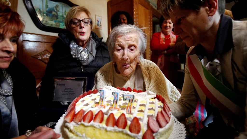 Emma Morano, celebrando su 117 cumpleaños el pasado mes de noviembre.