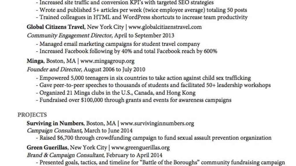 El currículum 'perfecto' con el que Katie Simon conquistó a los 'recruiters' de Google o eBay.