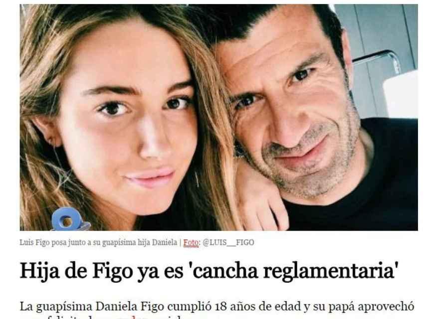 El machismo de un diario mexicano: a la hija de Figo ya se le puede hacer el amor
