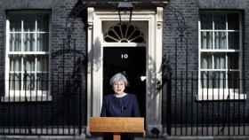 May en su comparecencia de este martes en el 10 de Downing Street.