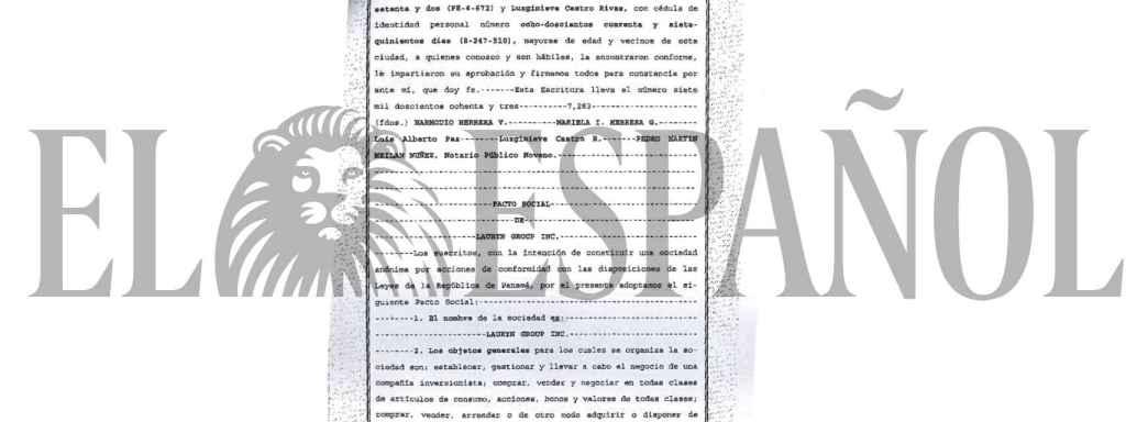 Escritura de constitución de la sociedad Lauryn Group en Panamá.