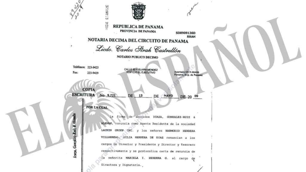 Documento de renuncia de los fiduciarios que estaban al frente de la empresa.