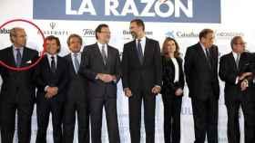 Rodríguez Sobrino (a la izquierda de la imagen) posa junto a los reyes y Mariano Rajoy.