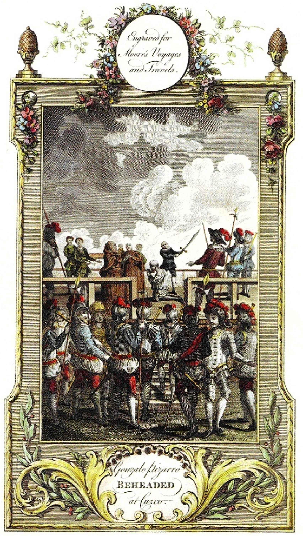 Grabado del siglo XVIII de la decapitación de Gonzalo Pizarro.