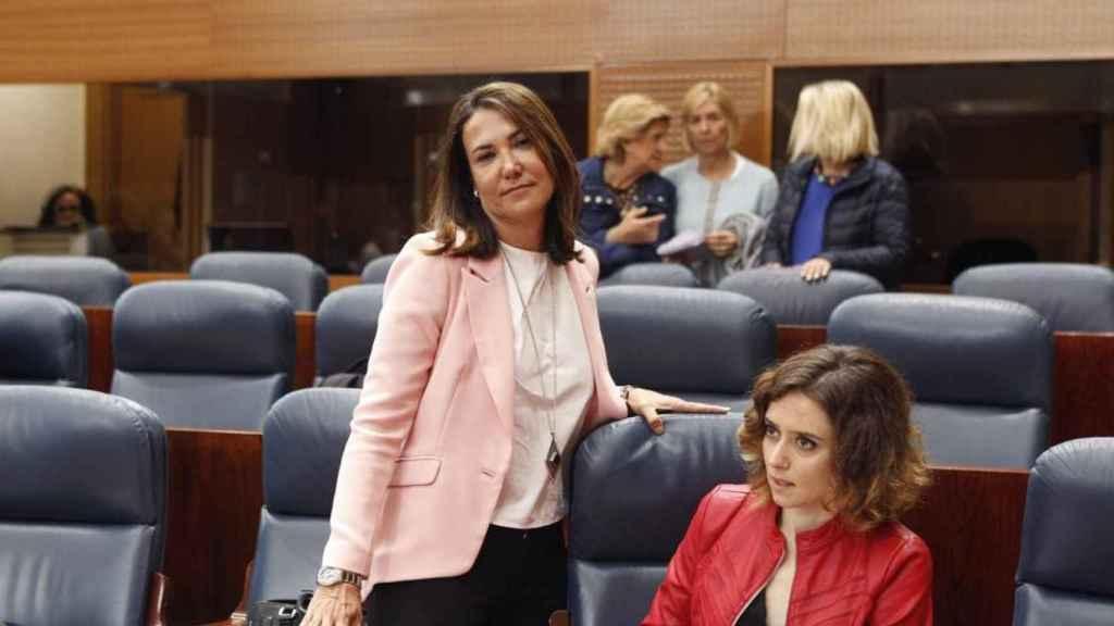 Isabel González a su llegada este viernes al pleno de la Asamblea de Madrid.