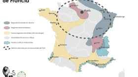 El voto y las regiones de Francia.