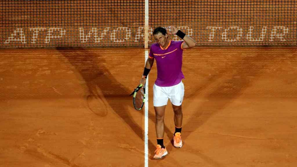 Nadal, celebrando su pase a semifinales de Montecarlo.