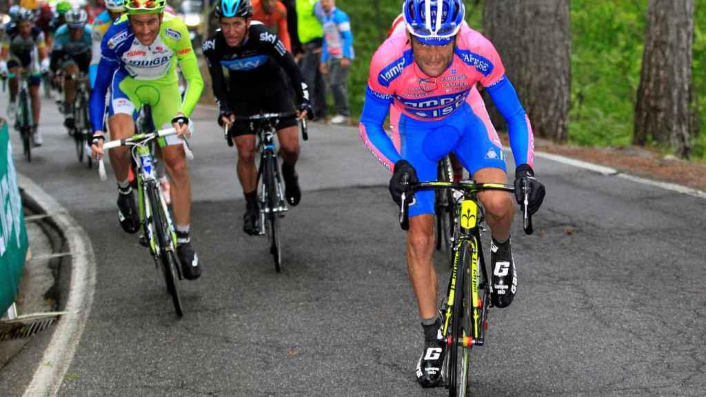 Scarponi, durante la etapa 15 del Giro 2012.