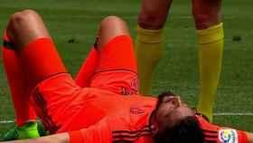 Ezequiel Garay justo después del balonazo contra el Málaga.